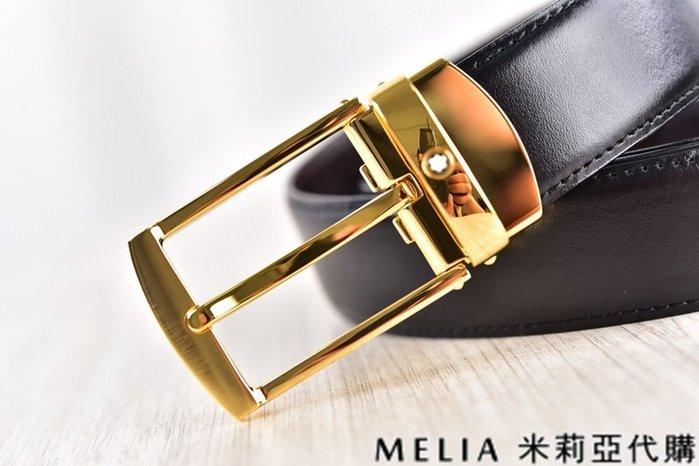 Melia 米莉亞代購 美國精品代購 Montblanc 萬寶龍 皮帶 腰帶 拉絲方扣 金色 純鏡面打磨 包裝齊全