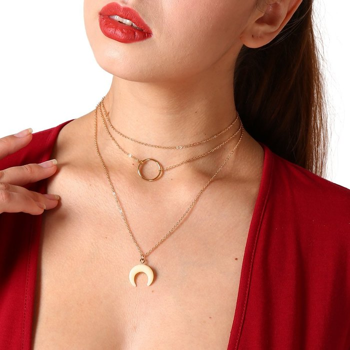 Qmi 簡潔圓環月亮吊墜雙層項鍊頸鍊 飾品