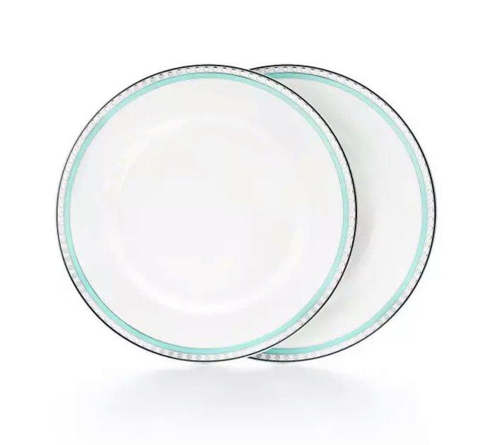 天使熊雜貨小舖~Tiffany白金藍19cm 對盤  一套2入  結婚送禮  全新現貨