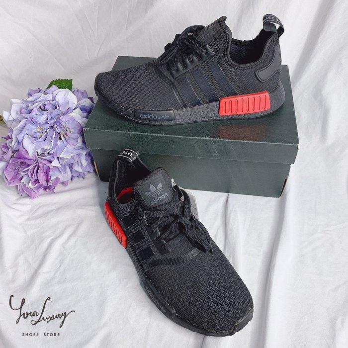 【Luxury】ADIDAS ORIGINALS NMD R1 BOOST 全黑 紅方塊 B37618 男女鞋 韓國代購
