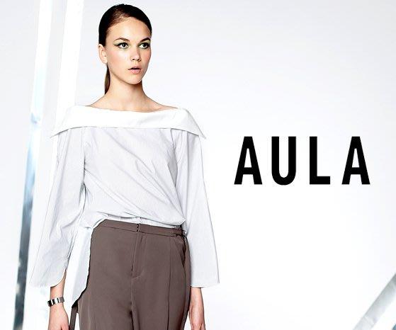 SHINY SPO 獨家代理日本品牌AULA時尚設計款一字領翻領造型開袖條紋上衣