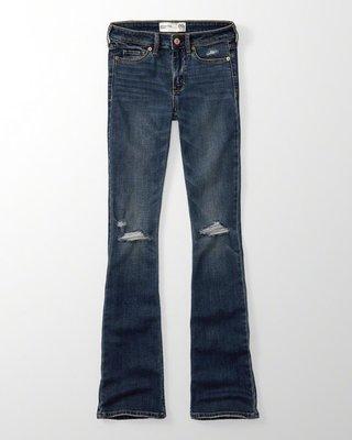 Maple麋鹿小舖 Abercrombie&Fitch * AF 藍色破損風合身牛仔喇叭長褲 * ( 現貨4S號 )