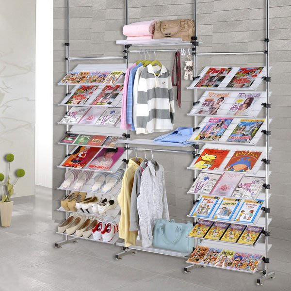 【中華批發網DIY家具】D-90-22-388型多角度旋轉式衣架鞋架層架 雜誌書架