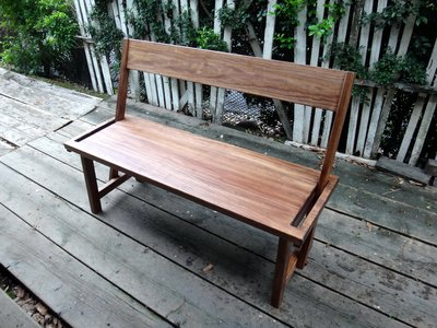C027 {崙頂傳統原木家具行}~黃松實木長椅 椅背可前後擺動  須訂
