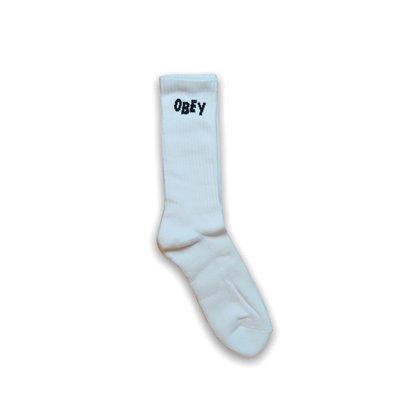 全新 現貨 Obey Jumbled Socks 白襪 襪子 中筒襪 美式 塗鴉 街頭 復古 騎士 滑板 衝浪