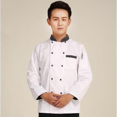【優上】透氣酒店廚師長長袖工作服七分袖中袖秋冬裝「白色黑條領」