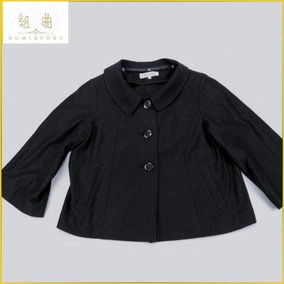 日本二手衣✈️KUMIKYOKU 日本製 組曲 深藍 七分袖外套 短版 寬鬆外套 雙口袋 日本女裝 M号 AFF85K