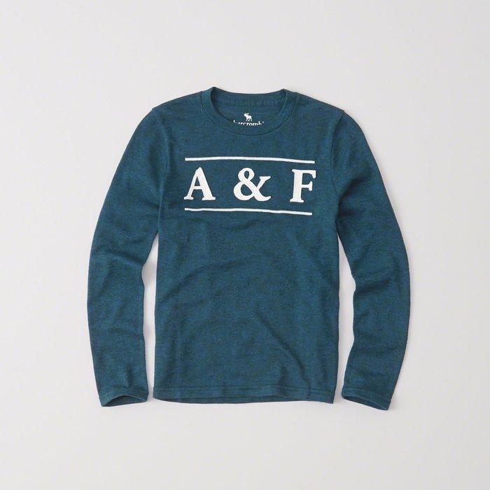 【abercrombie kids】【a&f】af男童款長袖T恤白雙槓A&F藍綠 F01161125-14