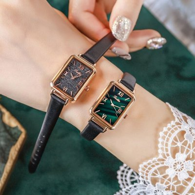 家電城時尚簡約小眾手錶女ins風輕奢女錶復古小方盤正品名牌手錶小綠錶