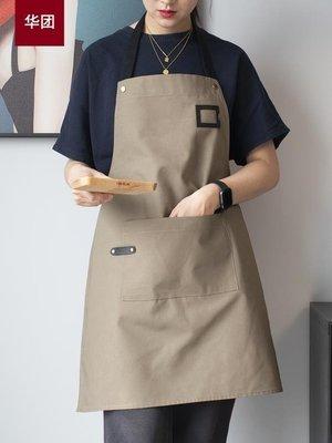 圍裙 圍裙帆布北歐廚房工作服女時尚服務員男防水咖啡家用定制LOGO印字
