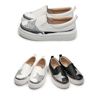 【富發牌】閃耀星光亮片兒童懶人鞋-黑/白 3BE08【采靚鞋包精品】