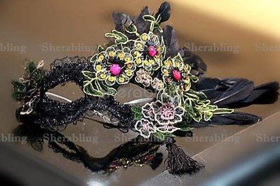 [PROP-H_00226] 華麗復古刺繡蕾絲化妝舞會派對名媛面具 萬聖節