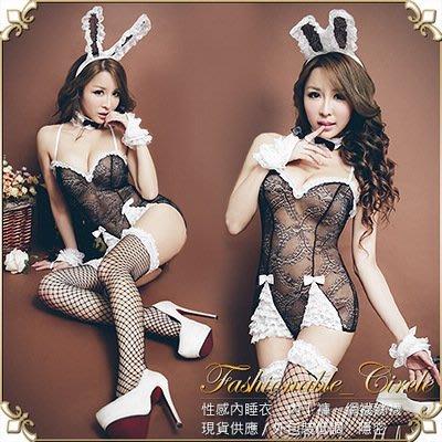 俏皮女郎.兔女郎角色扮演 (黑)  蕾絲縷空後綁帶全套超值附網襪!性感女模辣妹主題派對外拍旅拍 F695B