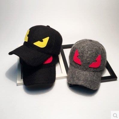 韓版可愛小惡魔毛呢棒球帽子女冬季情侶保暖羊毛鴨舌帽男