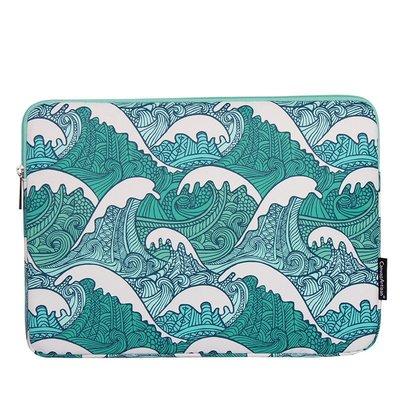 手拿包帆布電腦包-藍色波浪印花防潑水男女包包73vy28[獨家進口][米蘭精品]