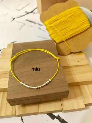 R259🌟 In Morse Code :  Smile( 微笑 )️✨ 925純銀珠 短管 蠟繩手鍊。色號: 微笑黃。伸縮繩。(可自選蠟線顏...