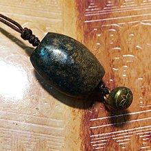 【藏家釋出】 早期收藏 ◎ 漂亮結實的的石勒子... 搭配一老銅扣 ◎ 整體非常有味道....38
