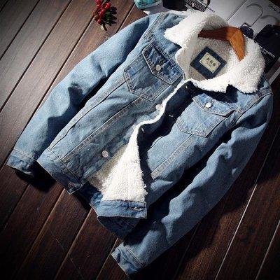 牛仔外套冬季加絨牛仔外套男修身加厚夾克...
