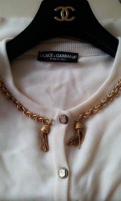 大降價!Dolce & Gabbana  金屬綴飾 白色100 % CASHMERE喀什米爾 開襟毛衣外套