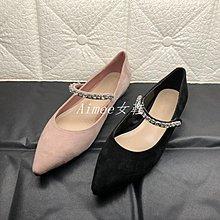 Empress丶19年秋季新款真皮羊反絨粉色黑色尖頭平底水鉆女單鞋