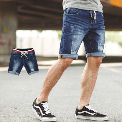 柒零年代【NB0533J】韓國製文字抽繩配色羅紋褲頭牛仔短褲(PA-KR8085)