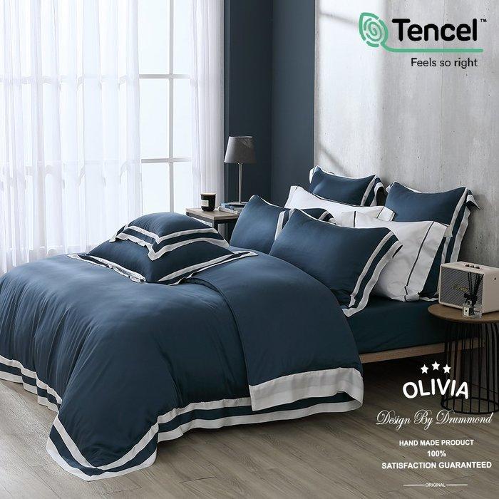 【OLIVIA 】DR1010 蒼山藍 標準雙人床包兩用被四件組 80支天絲™萊賽爾 雙框設計