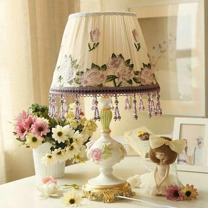 粉紅玫瑰精品屋~田園浪漫樹脂浮雕花檯燈~