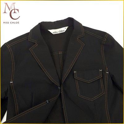 日本二手衣✈️MISS CHLOE 日本製 深藍色 薄外套 彈性外套 短版 修身外套 魔術粘小口袋 女M号 AFF9FM