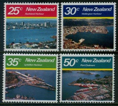 郵紳_47324_紐西蘭_奧克蘭 威靈頓等港口_1980年_一套4全_原膠新票_美品如圖_背潔無貼_低價起標無底價