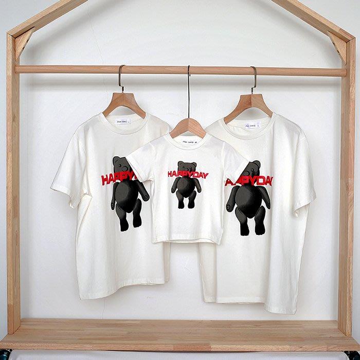 Ordinary shop 夏季 超火 新款網紅親子裝夏裝母女母子裝小熊短袖T恤寬松圓領一家三口嬰兒爬服