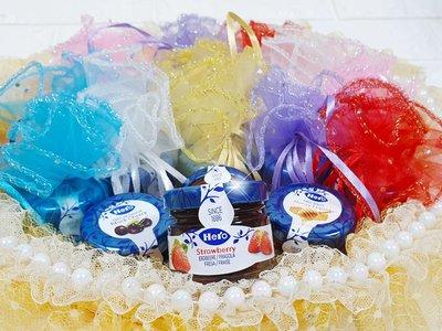 樂芙 瑞士HERO果醬 繽紛圓形花朵紗袋 * 婚禮小物 二進小物 喜糖盒 迎賓禮 下午茶 蜂蜜 土司