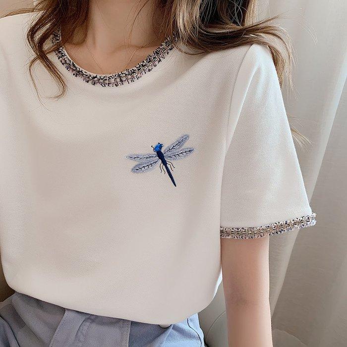 ❤Princess x Shop❤毛呢滾邊設計蜻蜓刺繡名媛風t恤TS21-45-10