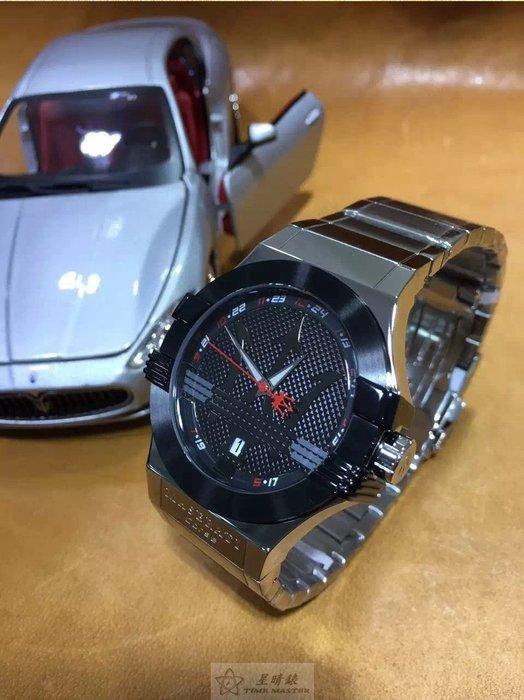 請支持正貨,瑪莎拉蒂手錶MASERATI手錶POTENZA款,編號:MA00073,黑灰色錶面銀色精鋼錶鍊錶帶款