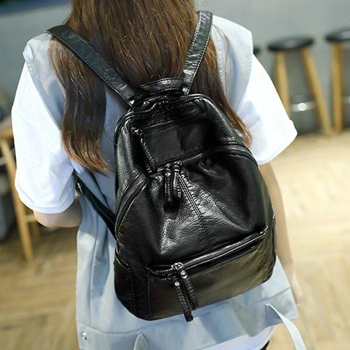 韓國連線 水洗皮後背包 韓版 後背包 女生 荔枝皮後背包 拉鍊後背包 媽媽包 皮革 後背包 機車後背包 休閒後背包 包包