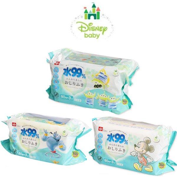 【JPGO】日本製 LEC 99%純水濕紙巾 Disney系列~一般款 80枚x3包入 #787 794 237