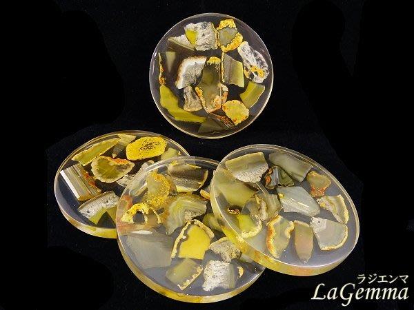 ☆寶峻鹽燈☆限量新品~瑪瑙杯墊 歐美流行外銷 居家擺飾 四片一組 天然瑪瑙染色 黃色 波麗杯墊 MP-6