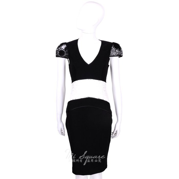 米蘭廣場 CLASS roberto cavalli 黑x白色拼接設計V領短袖洋裝 1520545-37