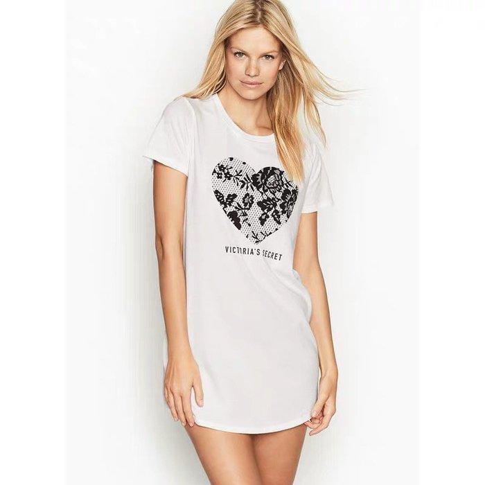 維多利亞的秘密 印花棉質圓領短袖T恤式睡裙XS、S真品保證