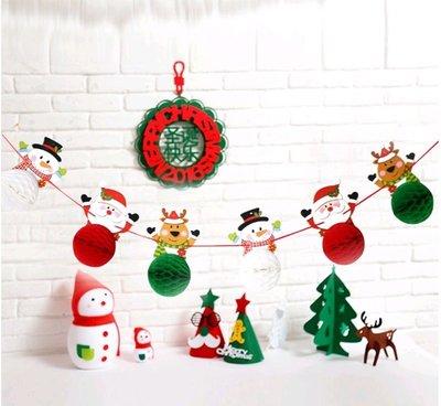【銅板屋】(送氣球)*現貨*聖誕節 立體紙球 拉花 拉旗 雪人 麋鹿 聖誕老人 掛飾 卡通 吊飾  掛旗 佈置