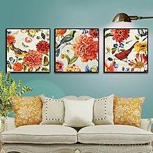 現代美式客廳裝飾畫電視背景牆畫客廳裝飾婚慶壁飾掛畫牡丹(3款可選)
