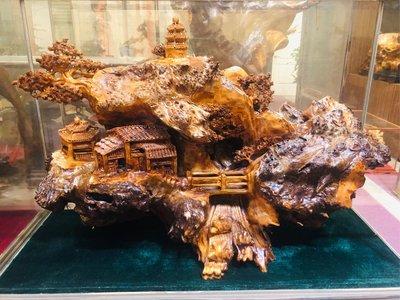 【杉木帶榴花木雕】山水意境木雕帶榴花雕工精細值得收藏