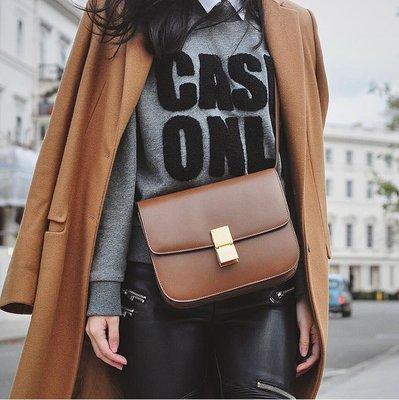 Celine Acorss Body Classic BOX Bag 中型牛皮肩背包 焦糖