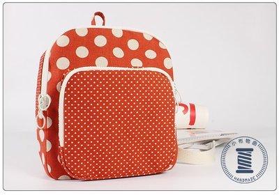 ✿小布物曲✿手作 可愛點點小後背包- 精製手工車縫製作.進口100%純棉布料質感優-橘色