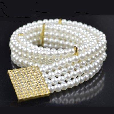 百搭串接珍珠鑲鑽方扣鬆緊彈性寬腰鍊腰封腰帶 【PT002】