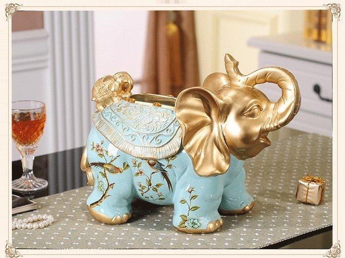 可愛立體波麗大象與小象造型小包面紙盒 環保包藍色小鳥/金色蜻蜓款招財紙巾盒衛生紙盒桌上收納盒歐式古典風共2款【歐舍家飾】