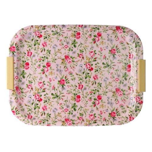 ~~凡爾賽生活精品~~全新日本進口粉紅色玫瑰花園造型大托盤~日本製