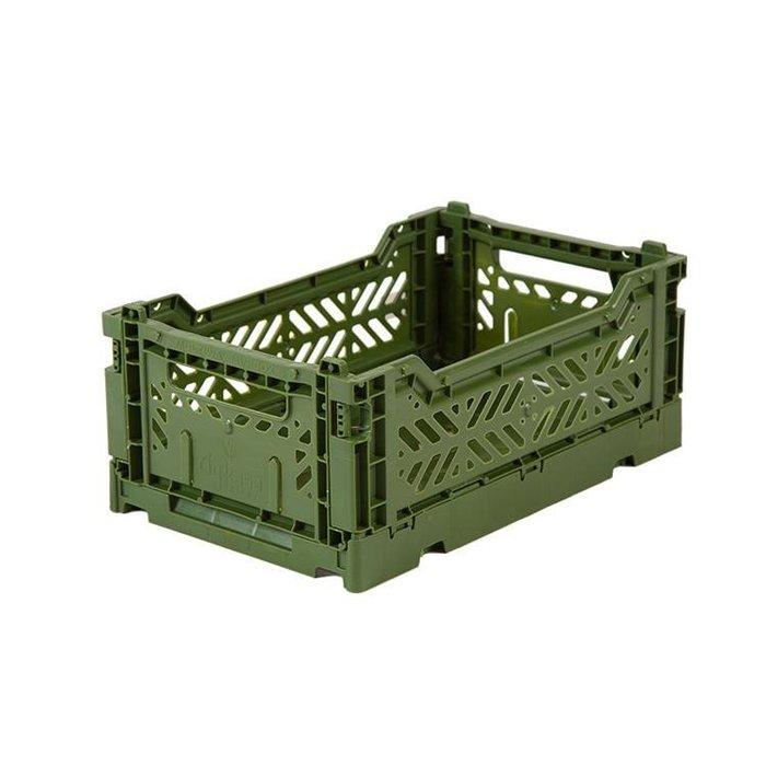 WaShiDa【4314】6-23 AY KASA MINIBOX 土耳其製 折疊 收納籃 小型 - 軍綠色 現貨