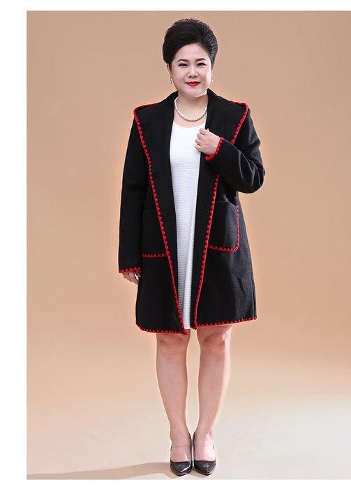7A23F 黑色中長款連帽韓版厚單排兩粒扣XL-7XL秋冬婆婆裝媽媽裝風衣女裝外套大尺碼大碼超大尺碼