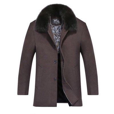 毛呢 外套 風衣大衣-成熟毛領純色休閒男外套3色73uo7[獨家進口][巴黎精品]