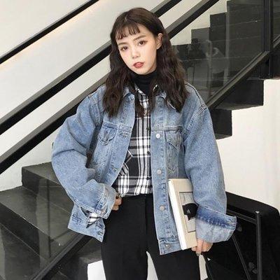 日和生活館 女裝正韓寬鬆原宿風外套復古做舊學生短款長袖牛仔夾克上衣潮S686
